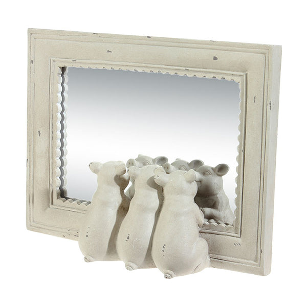 Three Little Pigs Mirror with Distressed Ivory Finish