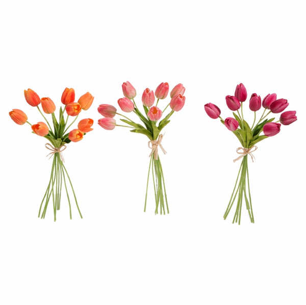 Your Choice, Real Touch Tulip Bundles in Soft Orange, Medium Pink or Candy Pink