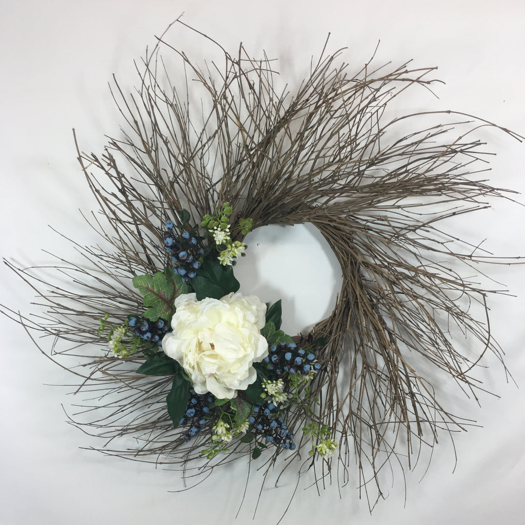 "26-28"" Twig Wreath with Ivory Peony Bloom, Blueberries, White Blossoms and Variegated Leaves"