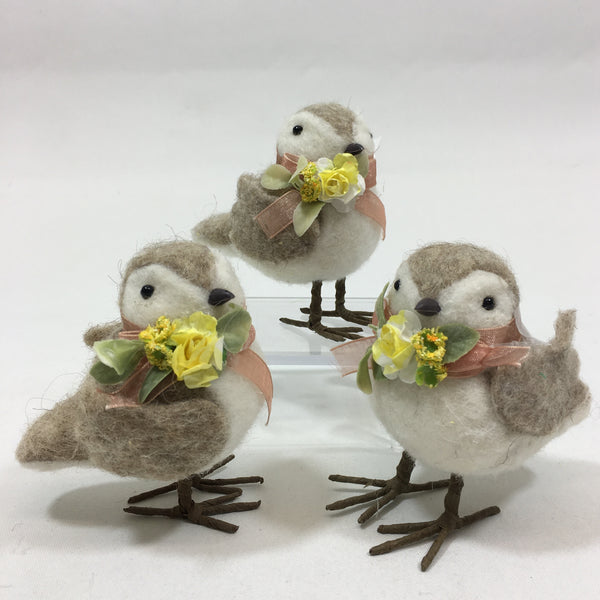 Set of Two or Three, Wool Birds with Peach Bow and Yellow Flowers