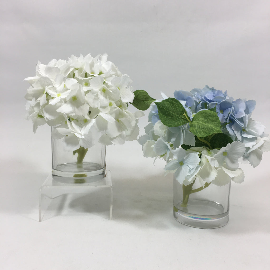 "Your Choice, 8""H White or Blue Hydrangea Head in Glass with Faux Water"