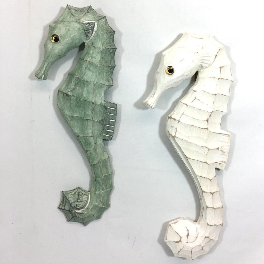 Your  Choice - Hand Carved Wooden Sea Horse Wall  Design in Sage Green or White
