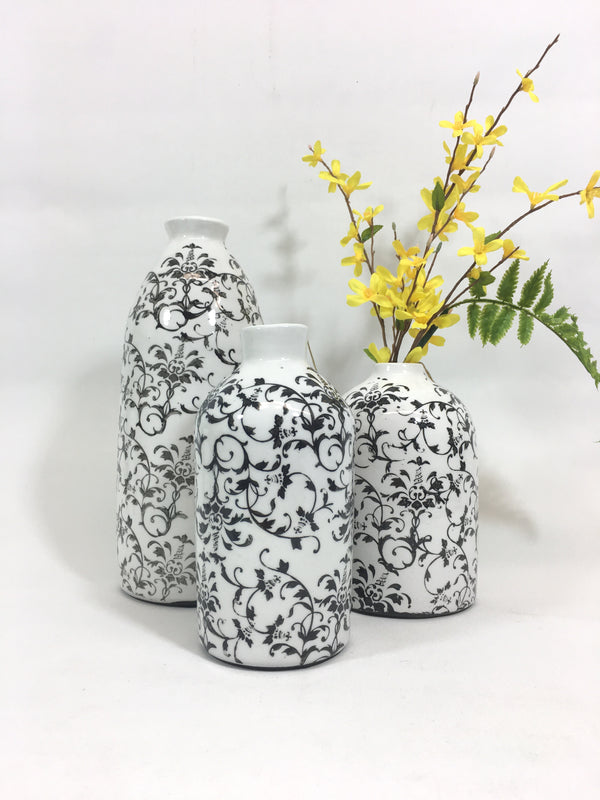 Your Choice, Black and White Ceramic Vases in Three Sizes