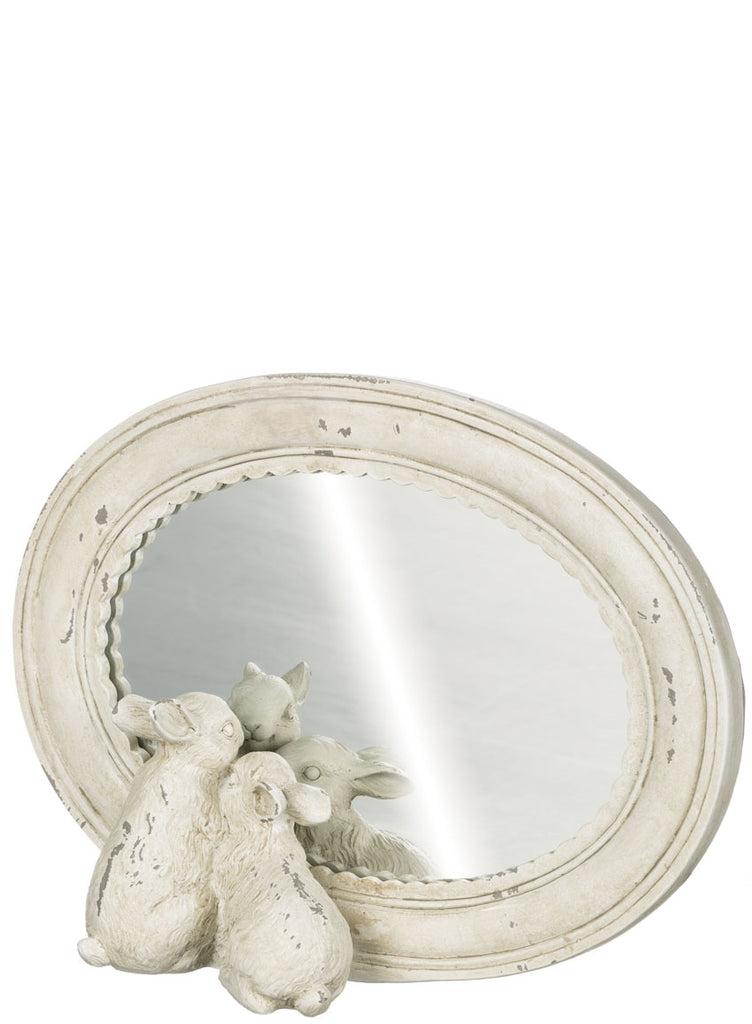 Bunny Mirror in Lightly Distressed Frame