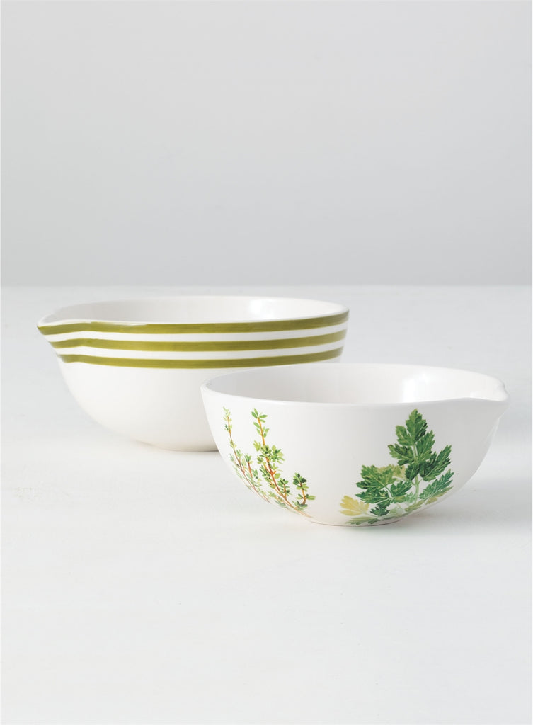Set of Two, Stoneware Herb Mixing Bowl and White-Green Stripe Bowl