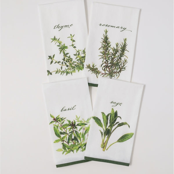 Set of Four, Herb Tea Towels, Made of 100% Cotton