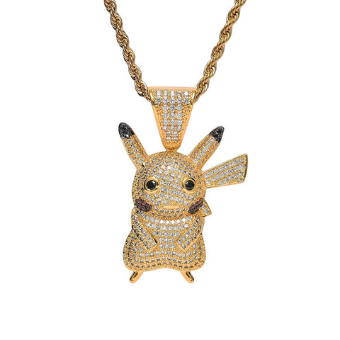 Iced Out Silver Pikachu Pendant Necklace