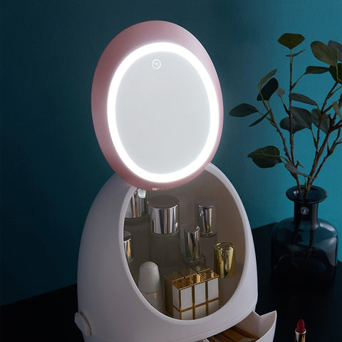 LED Makeup Mirror and Cosmetic Storage Box