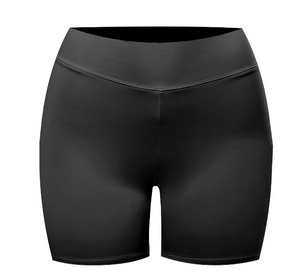 High waisted biker shorts made with soft material and are double-layered.