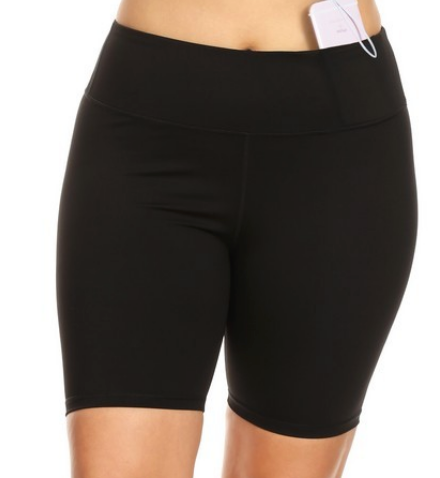 Biker shorts are in, and they're the perfect addition to your closet. Wear them when working out, at home, or pair them with a tee for a comfy outfit   Fabric: 75% Nylon, 25% Spandex Moisture wicking fabric Tummy-flattening waistband Interior hidden pocket Stretchy  Soft