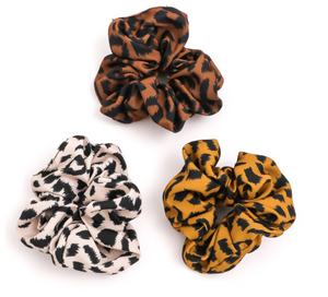 Pair these cheetah print scrunchies with any fit to add a cute twist.