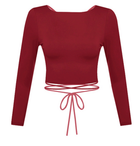 Show off some skin in this burgundy crop top! It features cross back detailing with a wrap tie.   Material: 96% POLYESTER 4% SPANDEX Made in the USA