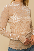 Load image into Gallery viewer, Velvet is timeless! We are loving this beige leopard print top with! Gold tip: Style with neutral heels, soft curls, and some hoops!  67% Polyester 23% Nylon 10% Spandex