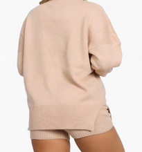 Load image into Gallery viewer, How perfect is this comfy knit set? It features an oversized knit sweater and high waisted shorts. Both can be worn together or separately.   Material: 100% acrylic