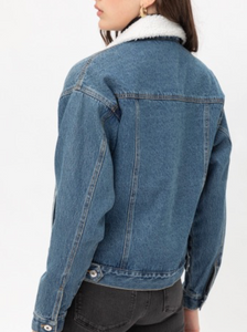 A classic denim jacket! Gold tip: pair it with red lipstick for a playful twist.   70% Rayon, 25% Nylon, 5% Spandex