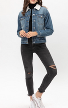 Load image into Gallery viewer, A classic denim jacket! Gold tip: pair it with red lipstick for a playful twist.   70% Rayon, 25% Nylon, 5% Spandex