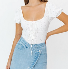 Load image into Gallery viewer, An effortless eyelet bodysuit that will be perfect for your Spring outfits.  93% Polyester 7% Spandex