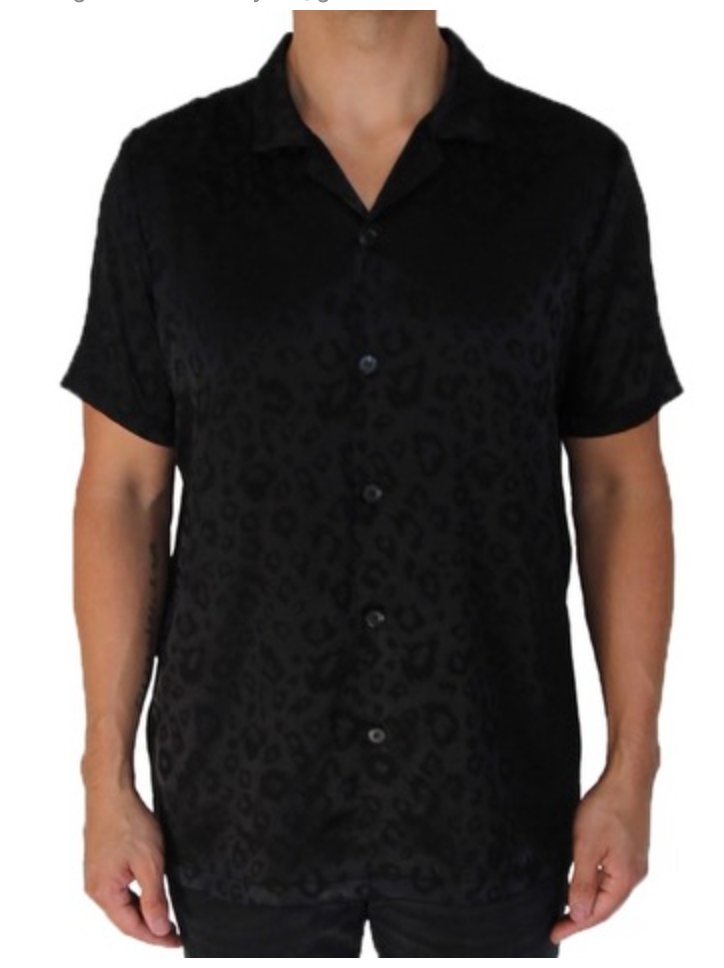 This men's satin shirt has a casual fit and a leopard print.  100% Polyester Made in the US