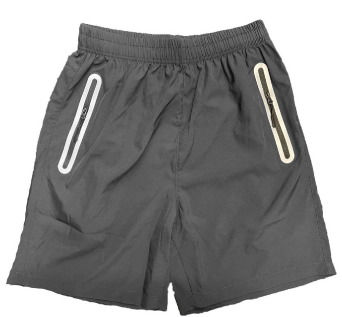 Our performance shorts are a great for working out. The pockets have reflective detailing on the zippers and are made from moisture-wicking material. There is also a hidden drawstring on the inside of the shorts.  95% Polyester 5% Spandex