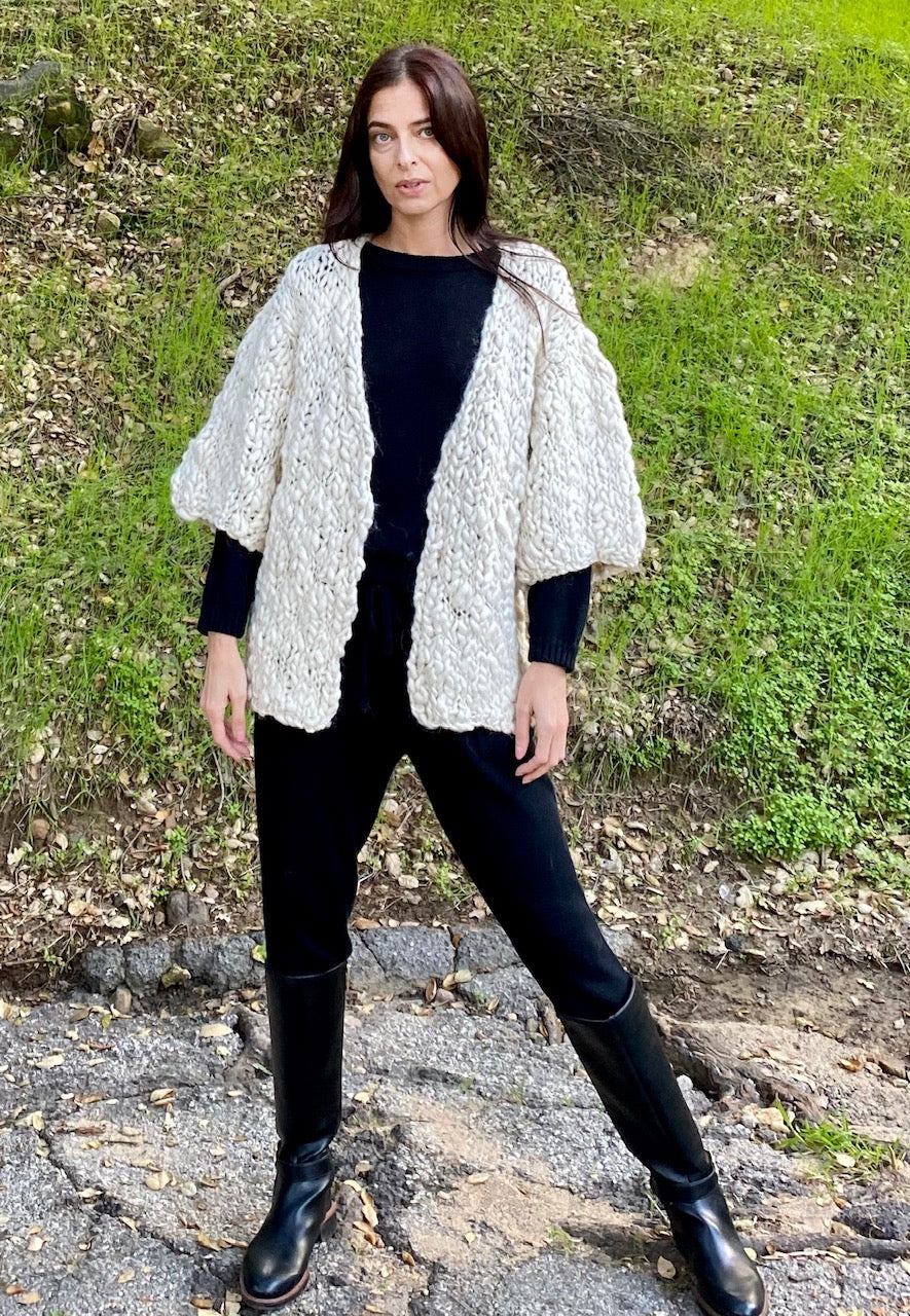 flammé baby alpaca cardigan - natural