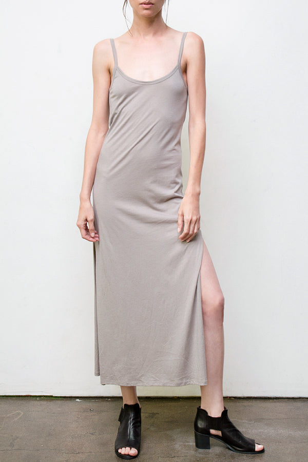long spaghetti dress - grey