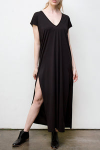 maxi v neck dress - black