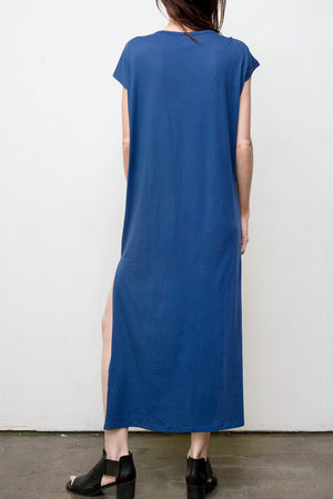 maxi v neck dress - blue