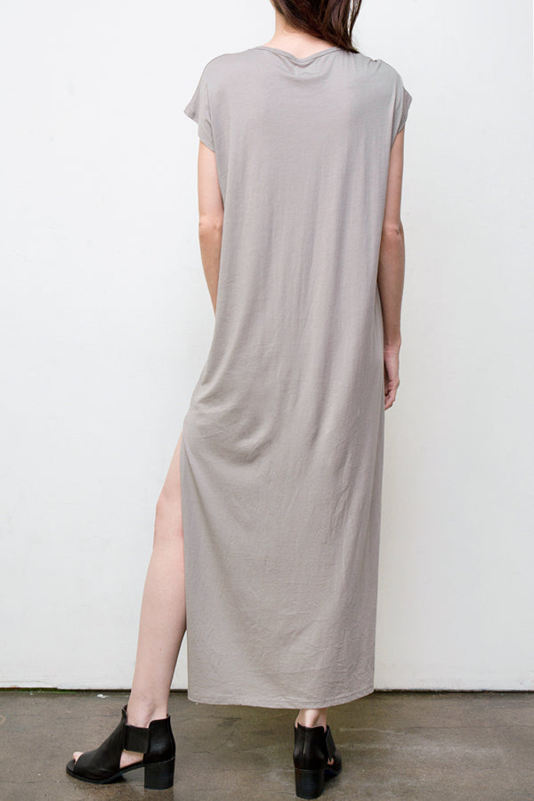maxi v neck dress - grey