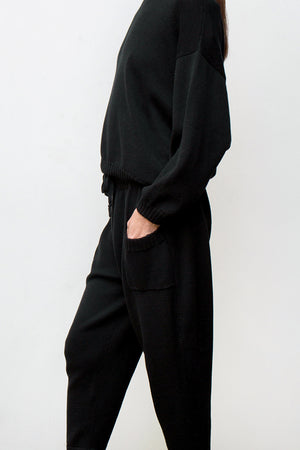mimi hand knit suit - black