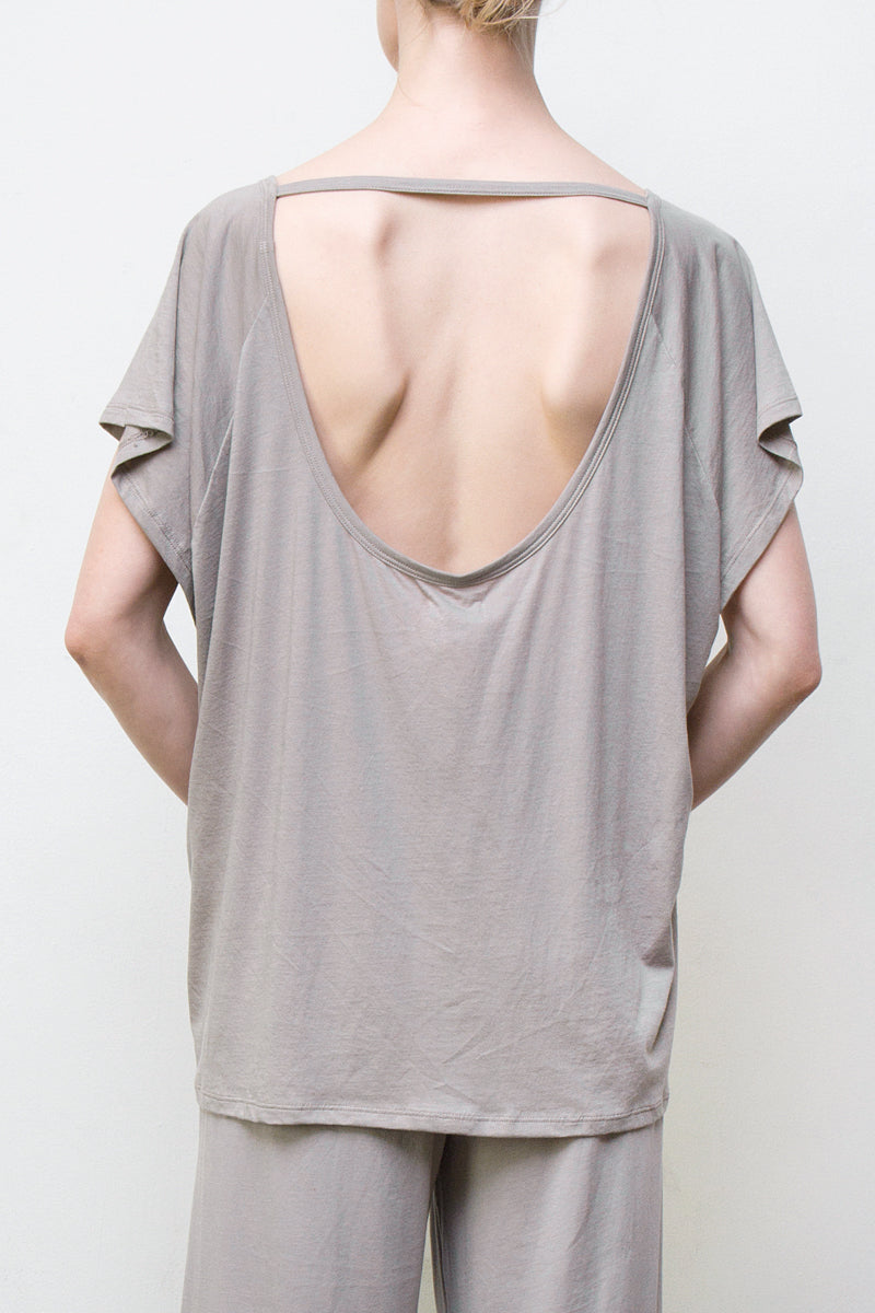 u back top - grey