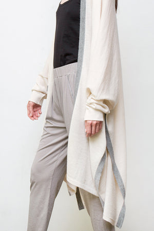 dylan alpaca duster - cream w/light grey border