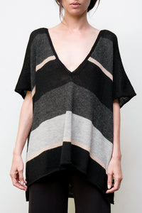 wayne alpaca striped tunic - black w/stripes