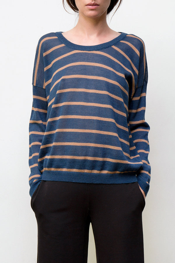 nini stripes pullover - blue / camel