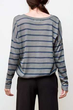 nini stripes pullover - grey / blue