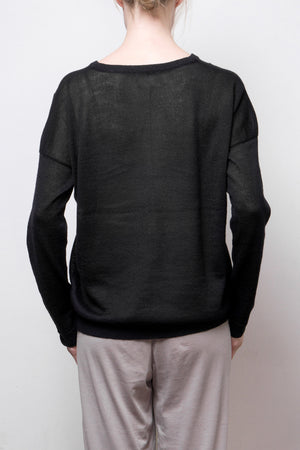 nini sheer cotton pullover - midnight