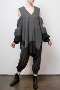 pamela alpaca slash tunic - grey w/charcoal border