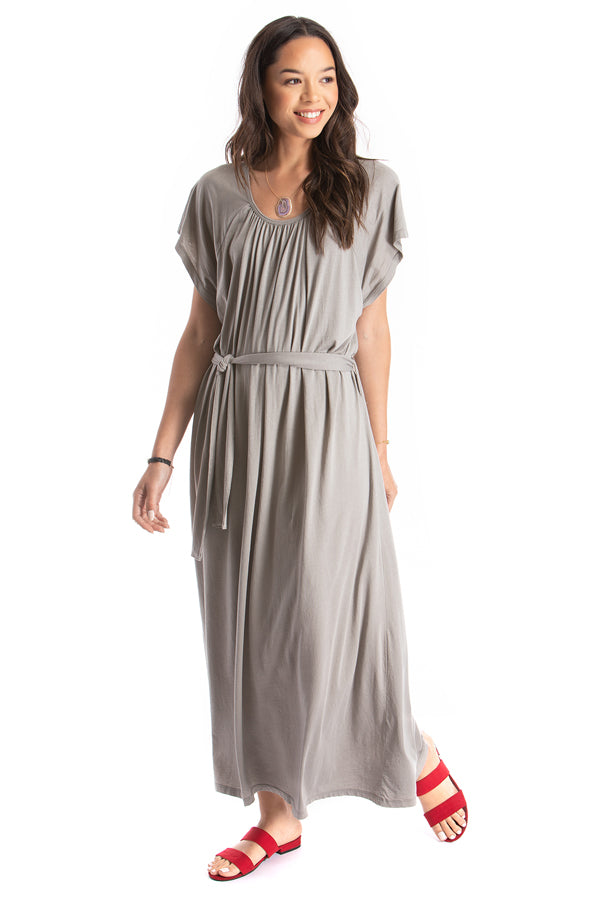 belted long dress - grey