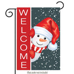 "GDF Studio Christmas Welcome Garden Flag, Super Cute Snowman in Santa Hat Red Neckerchief Double-Sided, 100% All-Weather Polyester, Winter/Christmas Yard Flag to Bright Up Your Garden 12.5"" x 18"""