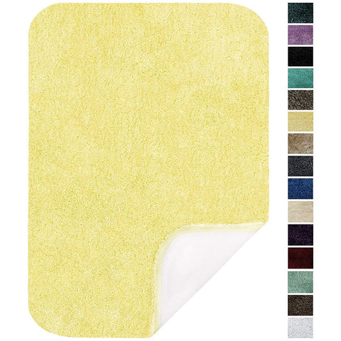 "Maples Rugs Bathroom Rugs - Colorsoft 20"" x 34"" Non Slip Washable Bath Mat [Made in USA} Soft & Quick Dry for Vanity and Shower, Lemon Ice"