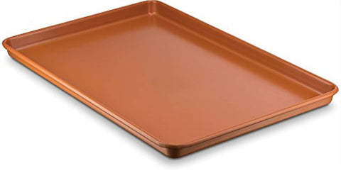 "Ceramic Coated Cookie Sheet 17.3"" x 11.6"" - Premium Nonstick, Even Baking, Dishwasher and Oven Safe - PTFE/PFOA Free - Red Cookware and Bakeware by Bovado USA"