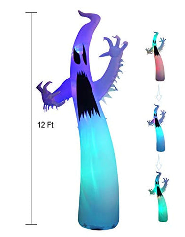 12 Ft Inflatable Portable Halloween Terrible Ghost Lanterns Indoors and Outdoors Decoration