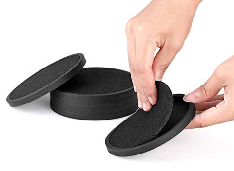 Silicone Drink Coasters with Absorbent Soft Felt Insert - 6Packs, Unique Two in One Coaster Set,Black