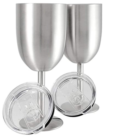 Set of 2 || Double Wall Vacuum Sealed Insulated Wine Glass + Goblet with Splash Proof Lid || Premium Food Grade 18/8 Stainless Steel || BPA-Free by Frost Bottle