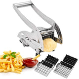 IKOCO French Fry Cutter Homemade Potato Chip Chipper with 2 Thickness Adjustable Stainless Steel Blades and Non-Slip Suction