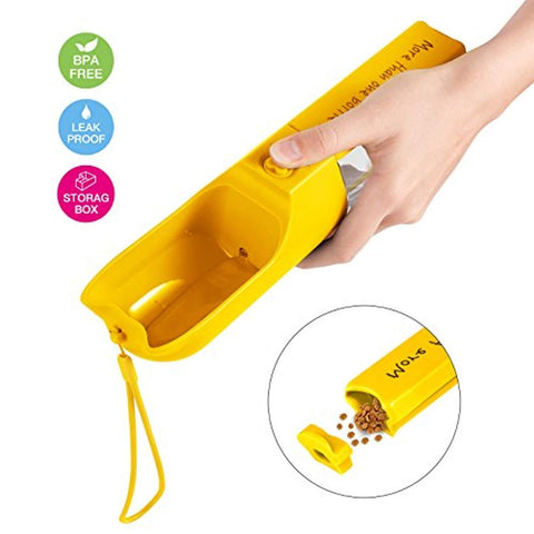 iVAPO Dog Water Bottle Walking Pet Outdoor Drinking Cup Multifunctional Storage Box Leak Proof 400ml Capacity Portable Travel Pet Water Bottle Dogs Cats Walking Running Hiking Yellow