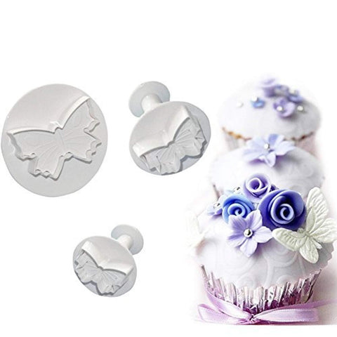 KALAIEN 3 Piece Butterfly Plunger Cutters Molds Sugarcraft Cake Decorating Fondant Sugarcraft Cake Tool
