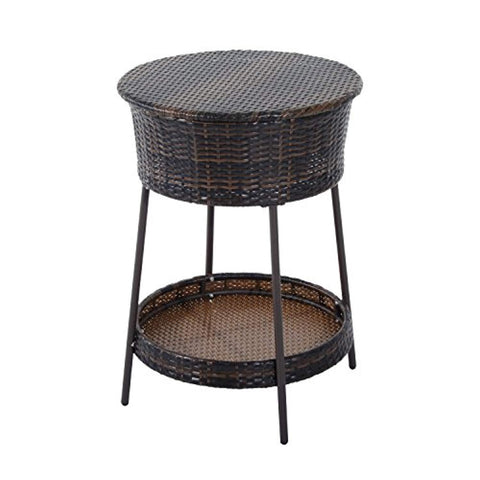 Outsunny Outdoor Patio Rattan Wicker Ice Bucket Cooler with Lid