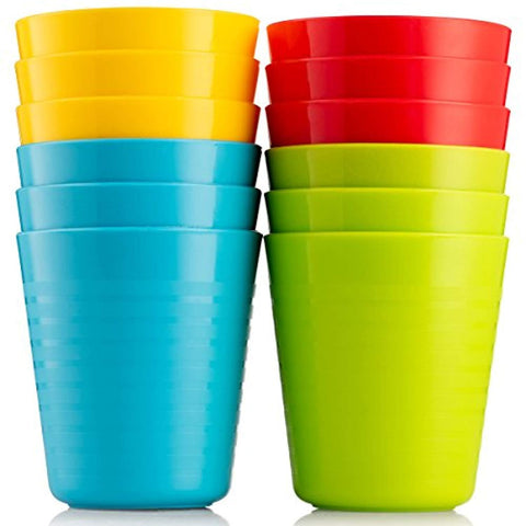 Plaskidy Kids Cups, Set of 12 Kids Plastic Cups, 8 oz Plastic Cups, Unbreakable, Reusable Cups, Dishwasher Safe, BPA-Free, Great Cups for Kids Bright Colored Kids Tumblers