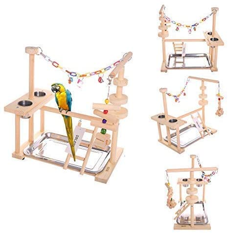 QBLEEV Parrot Playstand Bird Play Stand Cockatiel Playground Wood Perch Gym Playpen Ladder with Feeder Cups Toys Exercise Play (Include a Tray)