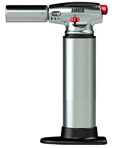 AMRIU GF-877 Micro Butane Torch Lighter, Silver - Kitchen Craft Cook's Blow torch Professional Grade Culinary Blow torch for Cooking & Baking For Camping Welding Flamethrower BBQ Outdoor